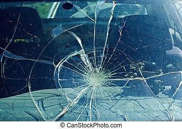 a, törött, szélvédő, kocsiban, baleset