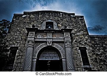 a, történelmi, alamo, alatt, san antonio, texas