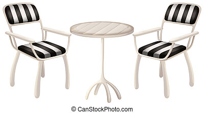 A table and two chairs - Illustration of a table and two ...
