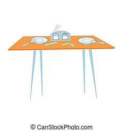 A table in the cafe with Cutlery
