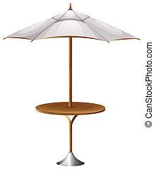 A table with a beach umbrella