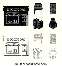 A table with old documents, bookshelves, folders, a visitor. A library and a bookstore set collection icons in black, outline style vector symbol stock illustration web.
