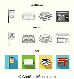 A table with old documents, bookshelves, folders, a visitor. A library and a bookstore set collection icons in flat, outline, monochrome style vector symbol stock illustration web.