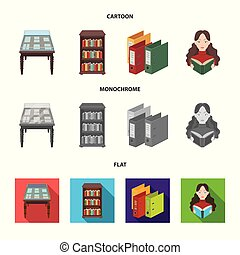 A table with old documents, bookshelves, folders, a visitor. A library and a bookstore set collection icons in cartoon, flat, monochrome style vector symbol stock illustration web.
