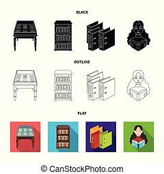 A table with old documents, bookshelves, folders, a visitor. A library and a bookstore set collection icons in black, flat, outline style vector symbol stock illustration web.