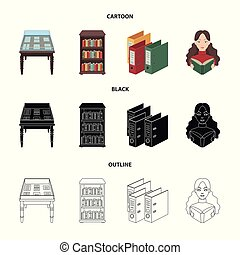 A table with old documents, bookshelves, folders, a visitor. A library and a bookstore set collection icons in cartoon, black, outline style vector symbol stock illustration web.