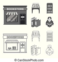 A table with old documents, bookshelves, folders, a visitor. A library and a bookstore set collection icons in outline, monochrome style vector symbol stock illustration web.