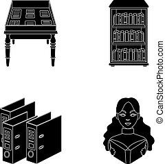 A table with old documents, bookshelves, folders, a visitor. A library and a bookstore set collection icons in black style vector symbol stock illustration web.