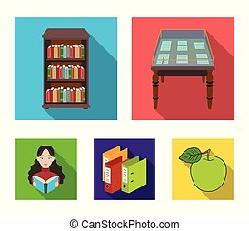 A table with old documents, bookshelves, folders, a visitor. A library and a bookstore set collection icons in flat style vector symbol stock illustration web.
