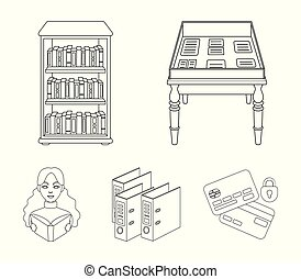 A table with old documents, bookshelves, folders, a visitor. A library and a bookstore set collection icons in outline style vector symbol stock illustration web.
