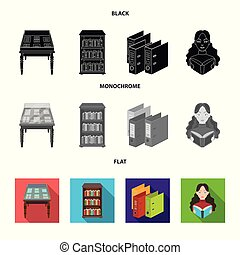 A table with old documents, bookshelves, folders, a visitor. A library and a bookstore set collection icons in black, flat, monochrome style vector symbol stock illustration web.
