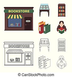 A table with old documents, bookshelves, folders, a visitor. A library and a bookstore set collection icons in cartoon, outline style vector symbol stock illustration web.