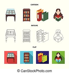 A table with old documents, bookshelves, folders, a visitor. A library and a bookstore set collection icons in cartoon, outline, flat style vector symbol stock illustration web.
