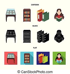 A table with old documents, bookshelves, folders, a visitor. A library and a bookstore set collection icons in cartoon, black, flat style vector symbol stock illustration web.