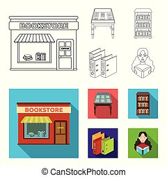 A table with old documents, bookshelves, folders, a visitor. A library and a bookstore set collection icons in outline, flat style vector symbol stock illustration web.