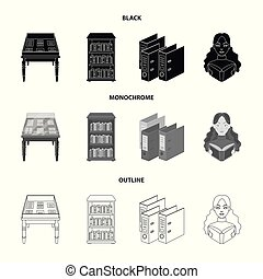 A table with old documents, bookshelves, folders, a visitor. A library and a bookstore set collection icons in black, monochrome, outline style vector symbol stock illustration web.