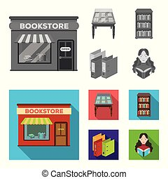 A table with old documents, bookshelves, folders, a visitor. A library and a bookstore set collection icons in monochrome, flat style vector symbol stock illustration web.