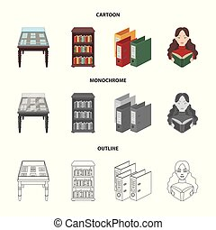 A table with old documents, bookshelves, folders, a visitor. A library and a bookstore set collection icons in cartoon, outline, monochrome style vector symbol stock illustration web.