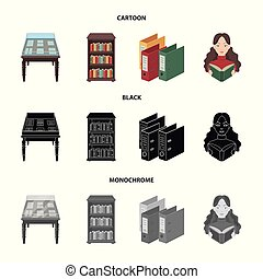 A table with old documents, bookshelves, folders, a visitor. A library and a bookstore set collection icons in cartoon, black, monochrome style vector symbol stock illustration web.