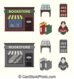 A table with old documents, bookshelves, folders, a visitor. A library and a bookstore set collection icons in cartoon, monochrome style vector symbol stock illustration web.