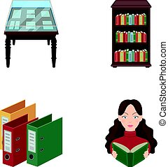 A table with old documents, bookshelves, folders, a visitor. A library and a bookstore set collection icons in cartoon style vector symbol stock illustration web.