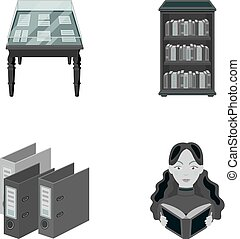 A table with old documents, bookshelves, folders, a visitor. A library and a bookstore set collection icons in monochrome style vector symbol stock illustration web.