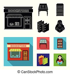 A table with old documents, bookshelves, folders, a visitor. A library and a bookstore set collection icons in black, flat style vector symbol stock illustration web.