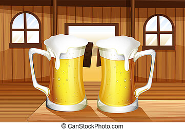 A table with two mugs of beer