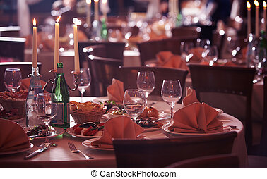 A table with wine glases. - Served celebrated table with...