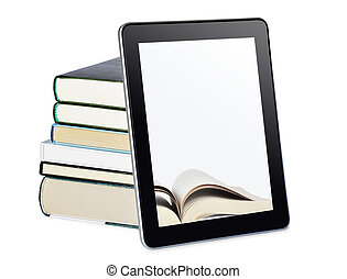 tablet pc with books