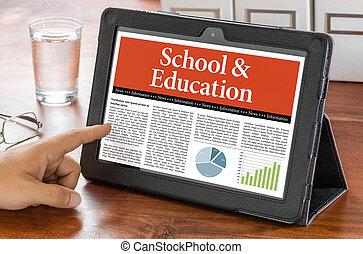 a, tablette, informatique, sur, a, bureau, -, école, et, education