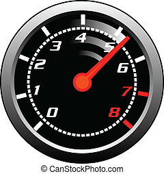 tachometer - A tachometer gauge showing a revving of power