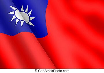 A Taiwan waving flag 3d illustration wind ripple Blue Sky White Sun Red Earth