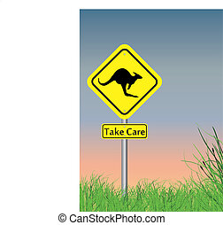take care - a take care of kangaroo sign with grass on lower...