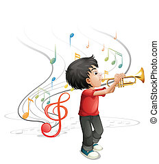 A talented young boy playing with the trumpet - Illustration...
