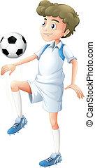 A tall boy playing soccer