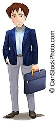 A tall brown haired Businessman illustration