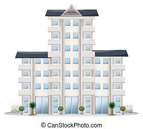 Illustration of a tall establishment on a white background