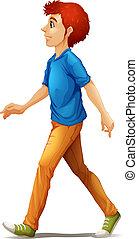 A tall man walking - Illustration of a tall man walking on a...