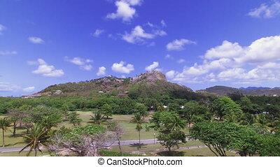 A tall mountain in an island