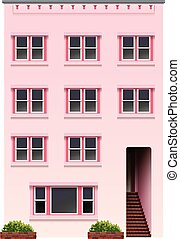 A tall pink building on a white background