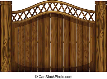 A tall wooden gate