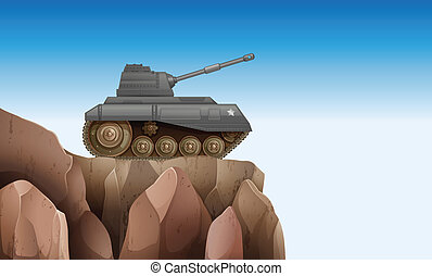 A tank at the cliff - Illustration of a tank at the cliff