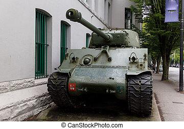 a tank in urban neighborhood