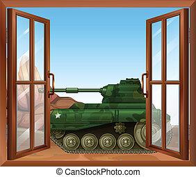 A tank near the window