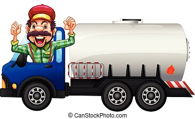 A Tank truck and driver illustration