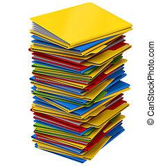 a, tas, de, multi-coloré, dossiers, à, documents