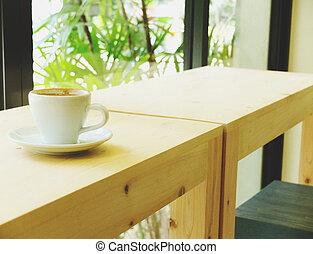 a, tasse kaffee, an, kaffeestube