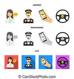 A taxi driver with a microphone, a taxi driver at the wheel, a cell phone with a number, a car steering wheel. Taxi set collection icons in cartoon, flat, monochrome style bitmap symbol stock illustration web.