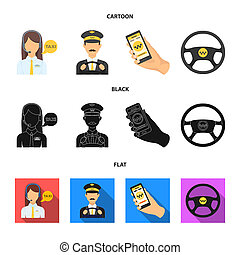 A taxi driver with a microphone, a taxi driver at the wheel, a cell phone with a number, a car steering wheel. Taxi set collection icons in cartoon, black, flat style bitmap symbol stock illustration web.